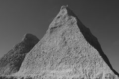 Pyramid shaped rocks in black and white Royalty Free Stock Image