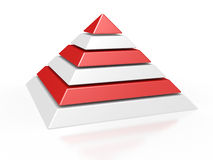 Pyramid with six colored levels Royalty Free Stock Photography