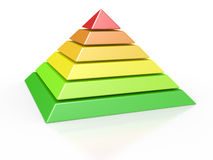 Pyramid with six colored levels Stock Photography
