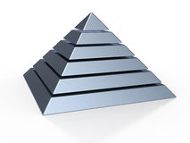 Pyramid with six colored levels Royalty Free Stock Image