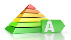 Pyramid with six colored levels Stock Photo