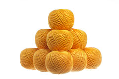 Pyramid of skeins of yarn. Pyramid of skeins of yarn royalty free stock image
