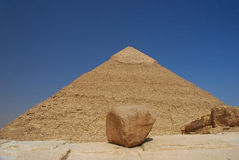 Pyramid with sky and stone Royalty Free Stock Photo