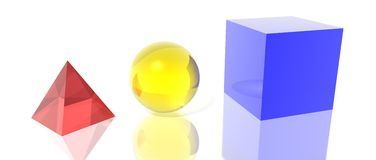 Pyramid sphere and cube Stock Images