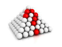 Pyramid of spheres with red question mark Stock Photos