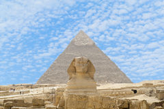 Pyramid and sphinx Royalty Free Stock Image