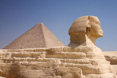 Pyramid and Sphinx Stock Image