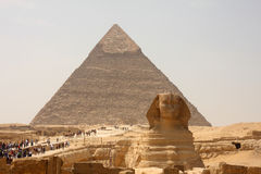 Pyramid and sphinx Royalty Free Stock Photography