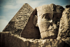 Pyramid and sphinx. Front shot of the sphinx and pyramid in plan of Giza, Egypt Stock Photos