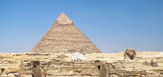 Pyramid and Sphinx in Egypt. Historical monuments Royalty Free Stock Images