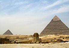 Pyramid and Sphinx in Egypt royalty free stock photos