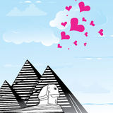Pyramid and sphinx sphinks objects as travel love to the Cairo, Egypt , heart  Royalty Free Stock Photography