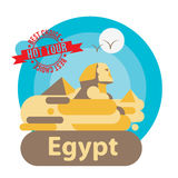 Pyramid and Sphinx The symbols of Cairo. Welcome to Egypt concept. Flat vector art. Round composition Royalty Free Stock Photography
