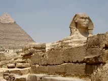 Pyramid and Sphynx stock photography