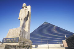 The Pyramid Sports Arena in Memphis, TN with statue of Ramses at entrance Royalty Free Stock Images