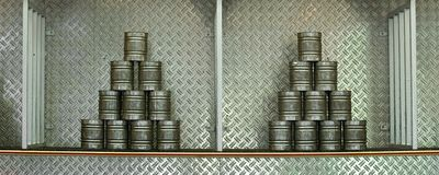 Pyramid of stacked cans Royalty Free Stock Images