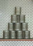 Pyramid of stacked cans Royalty Free Stock Photos