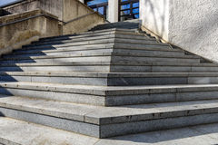 Pyramid of stair steps with blue window at the end Royalty Free Stock Image