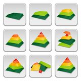 Pyramid status indicator icons Stock Image