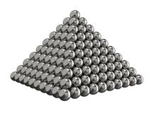 Pyramid of steel balls on a white background. Toy for children. 3D rendering. Pyramid of steel balls. Toy for children. Shattered Bearing. 3D rendering Royalty Free Illustration