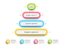 Pyramid 4 step process chart infographics with option circles. F Stock Photo