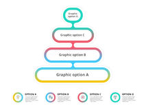 Pyramid 4 step process chart infographics with option circles. F Royalty Free Stock Photos