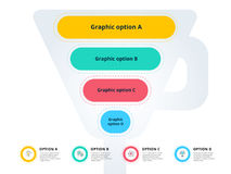 Pyramid 4 step process chart infographics with option circles. F Stock Photos