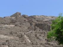 Pyramid steps at Huaca Pucllana, Miraflores, Lima Royalty Free Stock Images