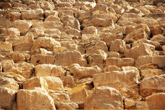 Pyramid stone rows closeup. Close view of big stones that form the Great Pyramids in Cairo, Egypt Royalty Free Stock Image