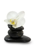Pyramid of stones. And white orchid on white background Royalty Free Stock Photos