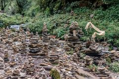 Pyramid of stones on Annapurna Sanctuary trek in Nepal. Himalaya Stock Photography