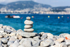 Pyramid of stones on the beach Royalty Free Stock Image