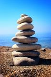 Pyramid of stones. On beautiful beach Stock Photography