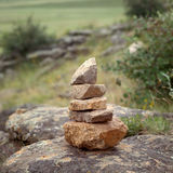 Pyramid of stones. On the mountain, square image Royalty Free Stock Photo