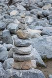 Pyramid of stones after the mudflow. Buryatia Stock Images