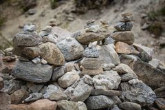 Pyramid of stones after the mudflow. Buryatia stock photo