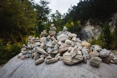 Pyramid of stones after the mudflow. Buryatia royalty free stock photos