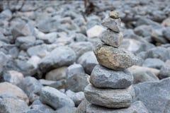 Pyramid of stones after the mudflow. Buryatia Stock Image