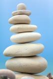 Pyramid of Stones near Sea on Beach Royalty Free Stock Photography