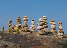Pyramid from stones. Under a blue blue sky royalty free stock photo