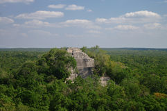 The pyramid structure of 1 in the complex rises over the jungle. Of Calakmul, Mexico Stock Photos
