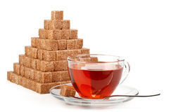 Pyramid from sugar cubes Royalty Free Stock Photo