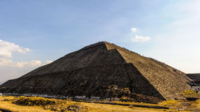 Pyramid of the Sun, Mexico. Spectacular view of the Pyramid of the Sun is the largest building in Teotihuacan and one of the largest in Mesoamerica Stock Image