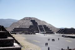 Teotihuacan Sun Pyramid, Mexico-2 -second largest in the New World after the Great Pyramid of Cholula. Pyramid of the Sun second largest in the New World after stock photography