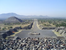 Pyramid of Sun in Tenochtitlan. In a sunny day Stock Photography