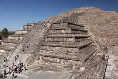 Pyramid of the Sun at Teotihuacan ancient pre-Columbian site, Mexico Royalty Free Stock Images