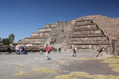 Pyramid of the Sun at Teotihuacan ancient pre-Columbian site, Mexico Royalty Free Stock Photo