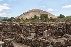 Pyramid of the Sun Teotihuacan Mexico. May 15, 2014 Teotihuacan, Mexico: ancient Aztec ruin stuctures with the Pyramid of the Sun in the background at the Stock Image