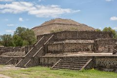 Pyramid of the Sun Teotihuacan Mexico with smaller structure in front. May 15, 2014 Teotihuacan, Mexico: ancient Aztec ruin structures with the Pyramid of the Royalty Free Stock Photo