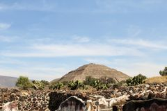 Pyramid of the Sun in Teotihuacan royalty free stock photography